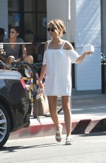 SARAH HYLAND in a White Mini Dress Out in Los Angeles 09/17/2016