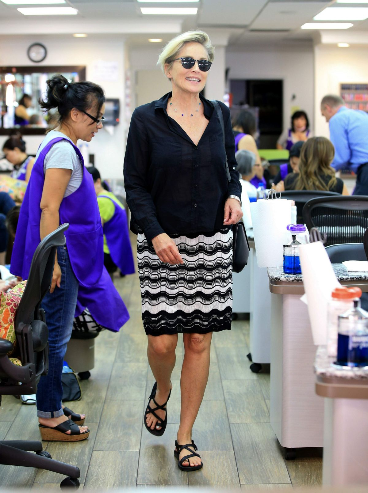 SHARON STONE at a Nail Salon in Beverly Hills 08/31/2016