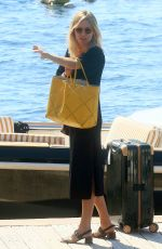 SIENNA MILLER Boarding at a Yacht in Antibes 09/25/2016