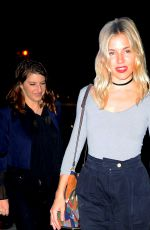 SIENNA MILLER Out for Dinner at Waverly Inn in West Village 09/27/2016