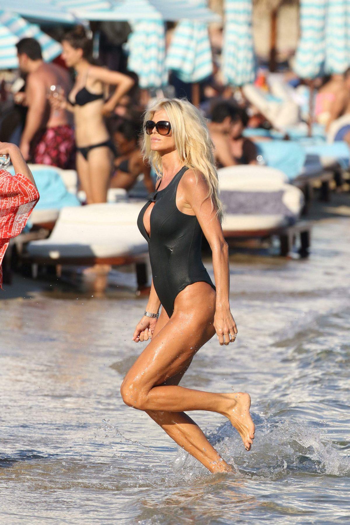 VICTORIA SILVSTEDT in Swimsuit onthe Beach in Mykonos 09/10/2016
