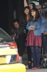 ZOOEY DESCHANEL and HANNAH SIMONE on the Set of