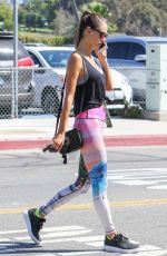 ALESSANDRA AMBROSIO in Tights Out in Brentwood 10/04/2016