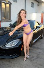 ALICIA ARDEN Over Her Customized Dodge Viper in Los Angeles 10/02/2016