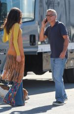 AMAL CLOONEY Surprising George on a Set in Los Angeles 10/20/2016