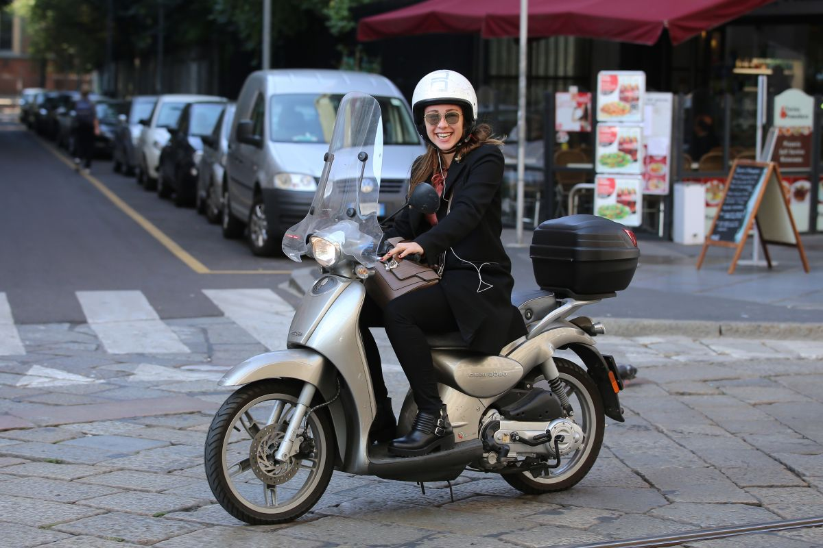 AURORA RAMAZZOTTI Riding a Scooter Out in Milan 10/07/2016