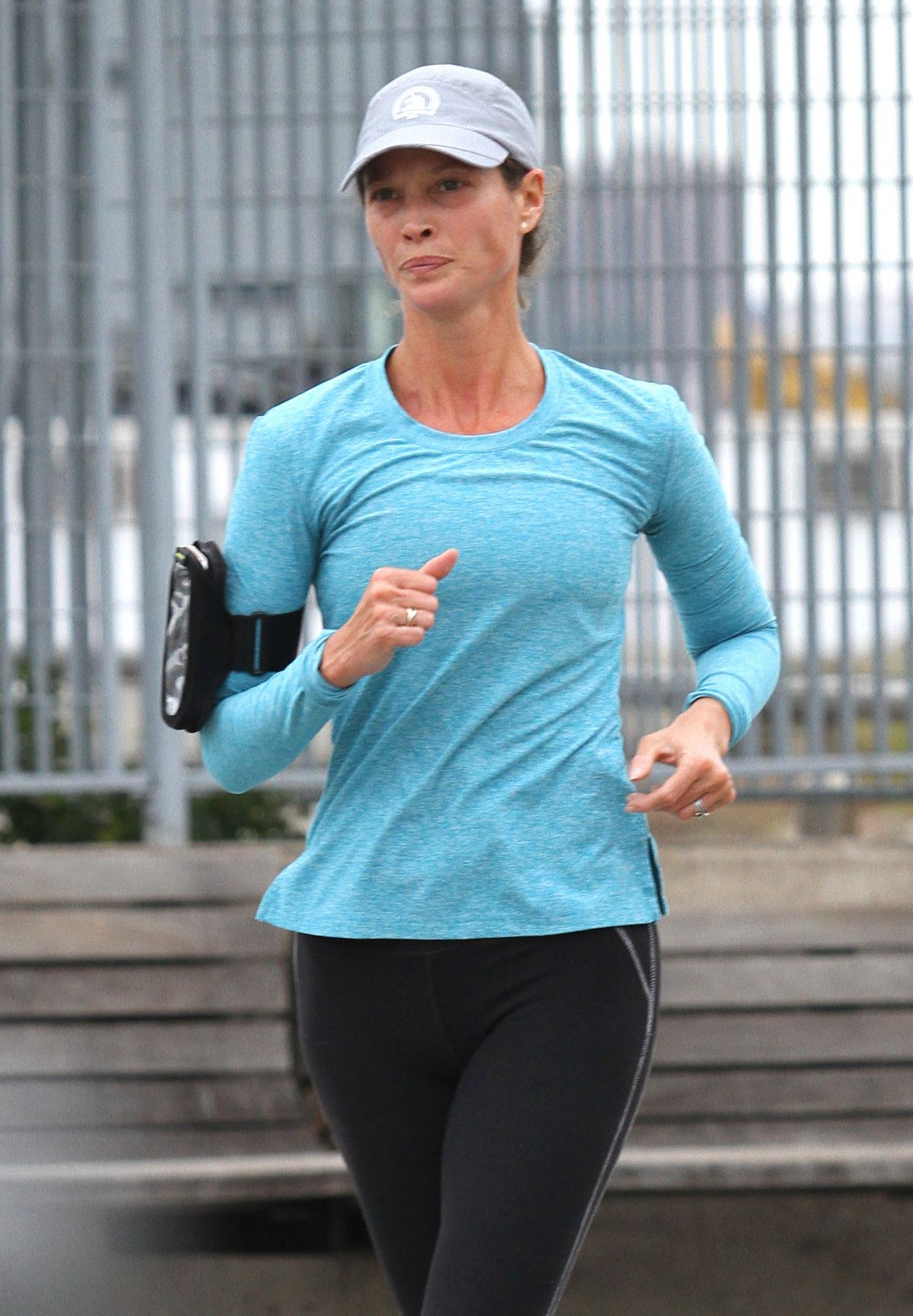 CHRISTY TURLINGTON Out Jogging in New York 10/01/2016