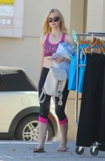ELLE FANNING in Leggings ant Sports Bra Out in Los Angeles 10/01/16
