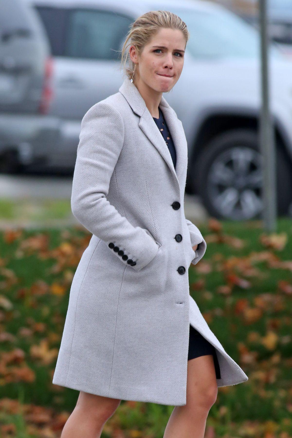 EMILY BETT RICKARDS Arrives on the Set of 'Supergirl' in Delta 10/12/2016
