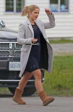 EMILY BETT RICKARDS Arrives on the Set of 'Supergirl' in Delta 10/12/2016