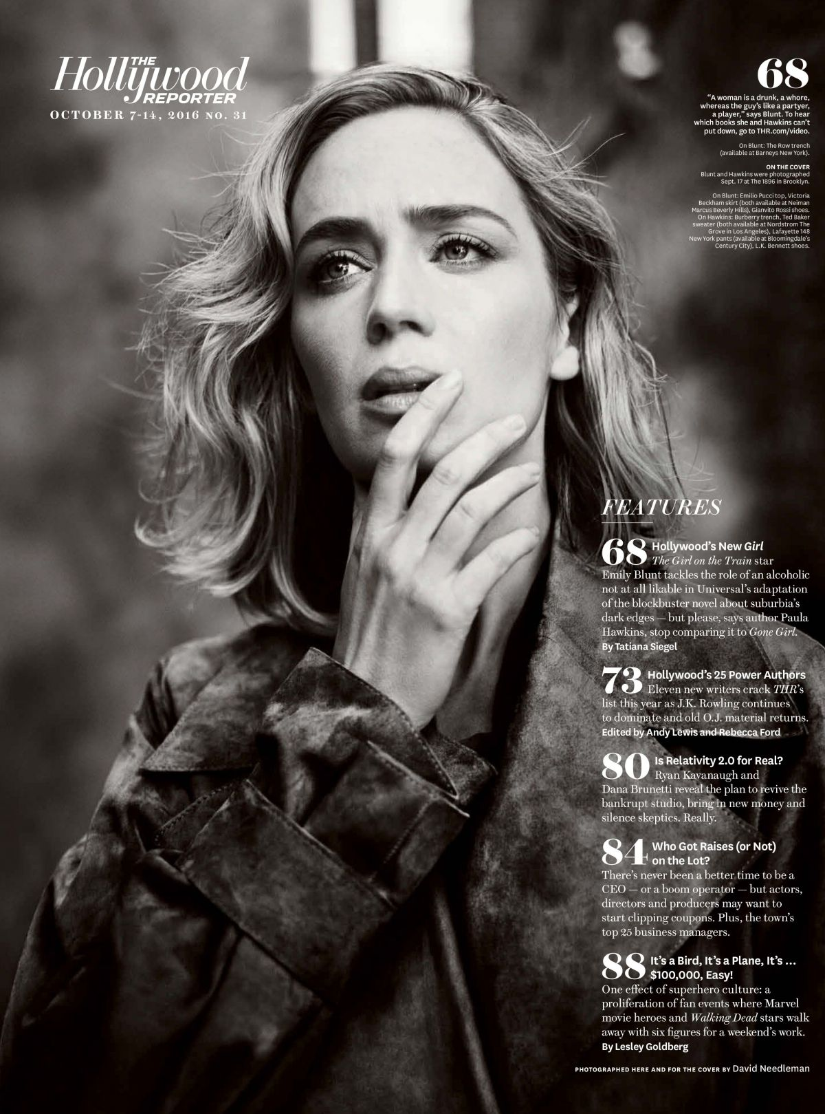 EMILY BLUNT in The Hollywood Reporter Magazine, October 2016 Issue