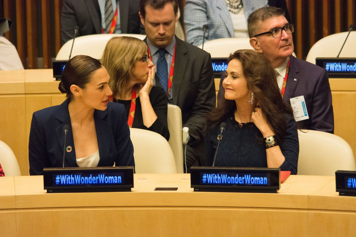GAL GADOT and LYNDA CARTER at Wonder Woman United Nations Ambassador Ceremony at UN in New York 10/21/2016