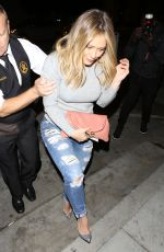 HILARY DUFF at Catch LA. in West Hollywood 10/06/2016