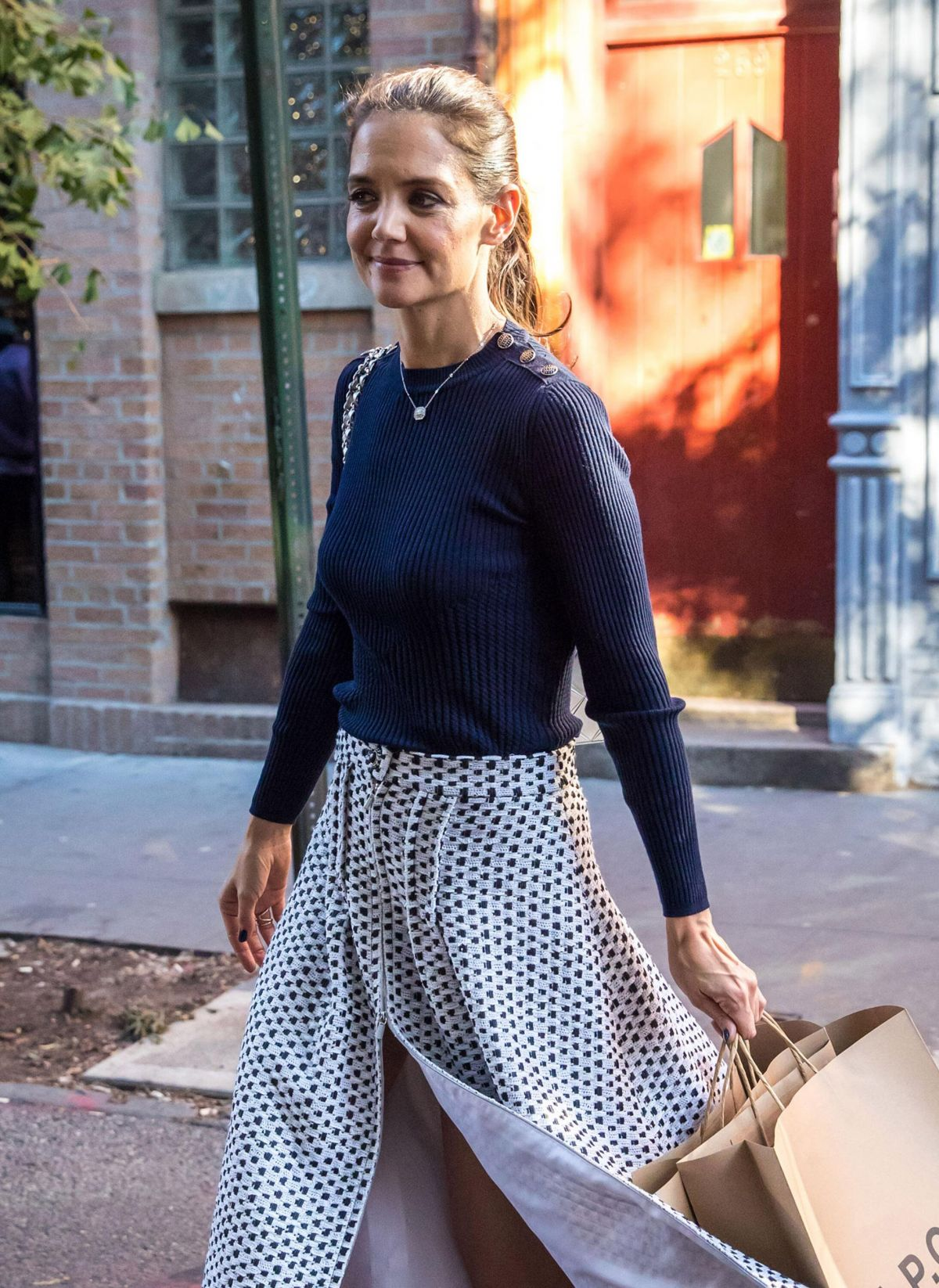 KATIE HOLMES Out Shopping in New York 10/25/2016