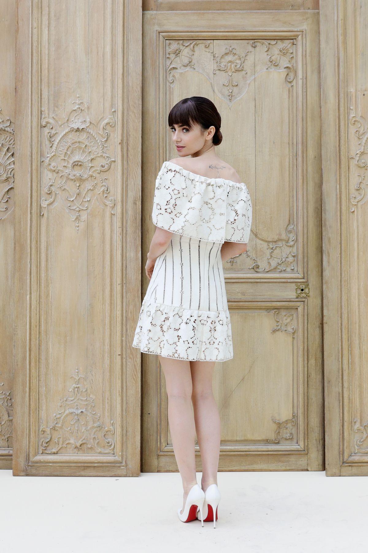 Lily Collins At Valentino Fashion Show At Paris Fashion