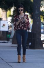 LUCY HALE in Tight Jeans Out in Studio City 10/10/2016