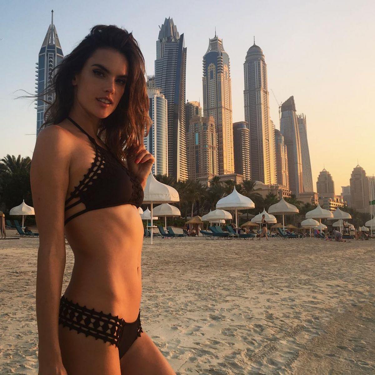 ALESSANDRA AMBROSIO in Bikini at a Beach in Dubai, Instagram Pictures 11/07/2016