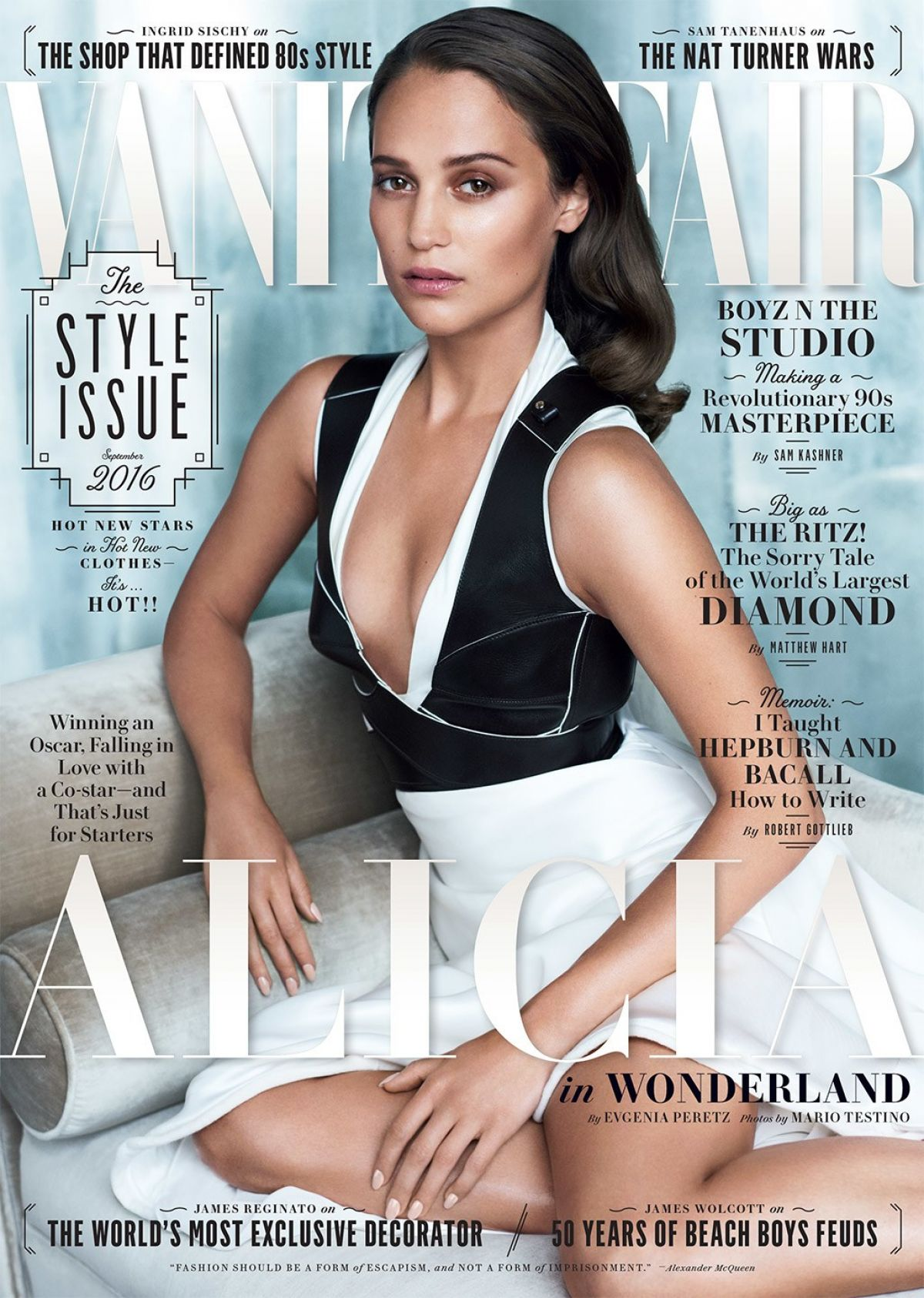ALICIA VIKANDER in Vanity Fair Magazine, September 2016