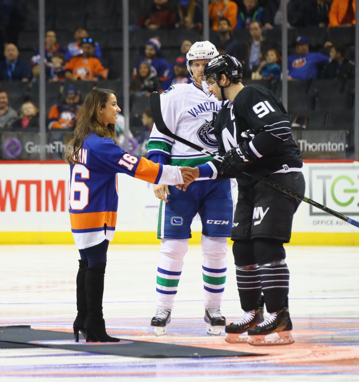 ALY RAISMAN at Vancouver Canucks vs New York Islanders Ceremonial Puck Drop in Brooklyn 11/07/2016