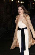 ANNA KENDRICK Arroves at Late Show with Stephen Colbert in New York 11/15/2016