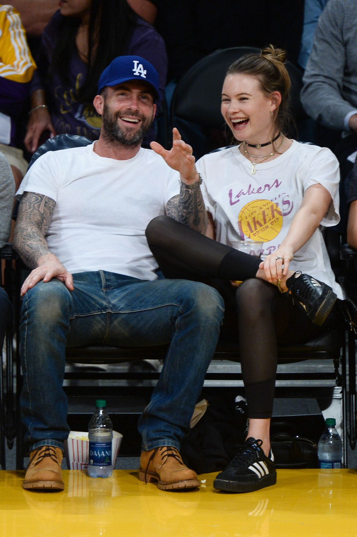 BEHATI PRINSLOO and Adam Levine at Lakers vs. Warriors Game in Los Angeles 11/25/2016