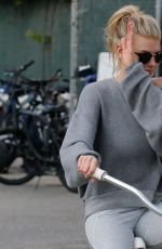CHARLOTTE MCKINNEY Riding a Bike Out in Santa Monica 11/19/2016