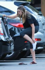 ELIZABETH OLSEN in Leggings Out Hiking in Studio City 11/10/2016