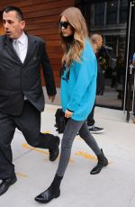 GIGI HADID in a MTV Sweater Out in New York 11/02/2016