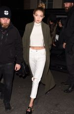 GIGI HADID Leaves Her Hotel in Paris 11/28/2016