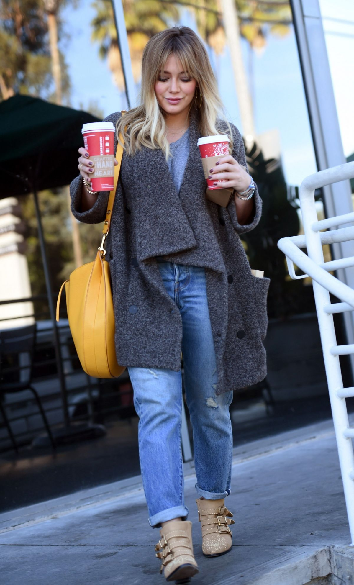 HILARY DUFF Leaves a Starbucks in Los Angeles 11/23/2016