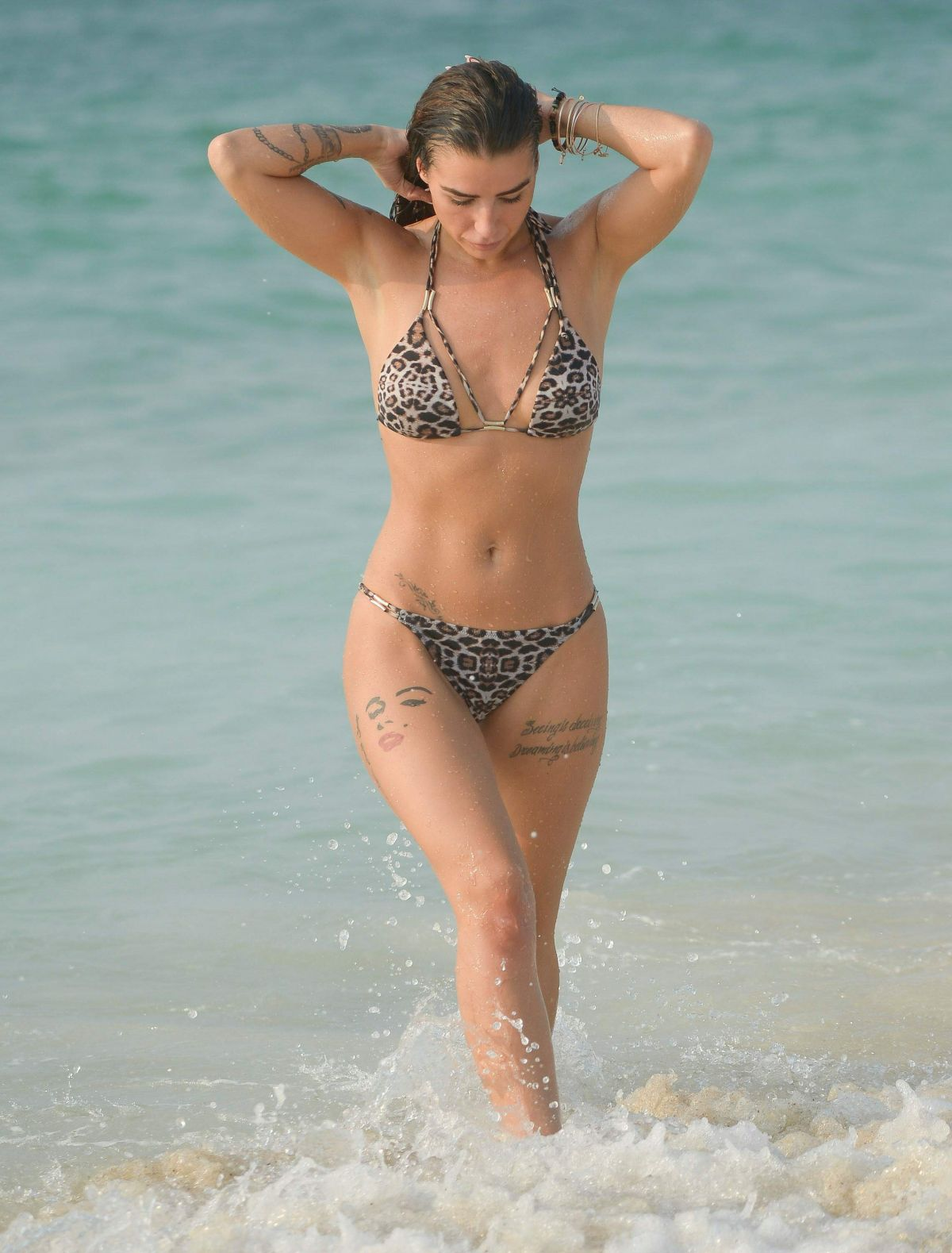 JENNY THOMPSON in Bikini on the Beach in Dubai 11/22/2016
