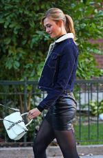 KARLIE KLOSS in Leather Skirt Out in New York 10/31/2016