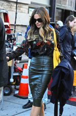 KATE BECKINSALE in Leather Pencil Skirt on the Set of