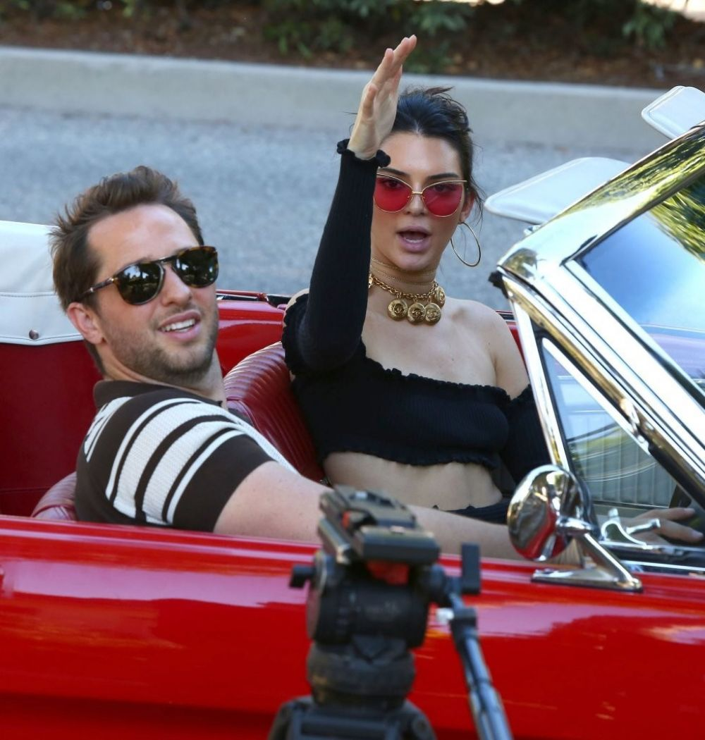KENDALL JENNER Driving Her Mustang Out in Los Angeles 11/10/2016