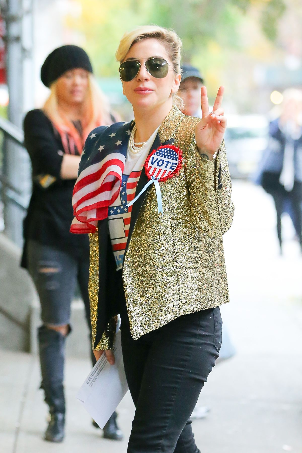 LADY GAGA Arrives at the Polls to Vote in New York 11/08/2016