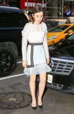 LILY COLLINS Arrives at Today Show in New York 11/16/2016