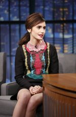 LILY COLLINS at Late Night with Seth Meyers in New York 11/15/2016