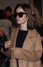 LILY COLLINS at Los Angeles International Airport 10/31/2016