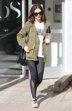 LILY COLLINS Leaves a Gym in West Hollywood 11/19/2016
