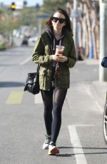 LILY COLLINS Leaves a Gym in West Hollywood 11/28/2016
