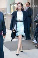 LILY COLLINS Leaves Tiday Show in New York 11/16/2016