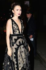LILY COLLINS Night Out in New York 11/02/2016
