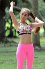 MELISSA LORI in Tights Working Out at a Park in Miami 11/21/2016