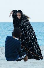 NATASHA POLY on the Set of a Photoshoota at a Beach in Miami 11/06/2016