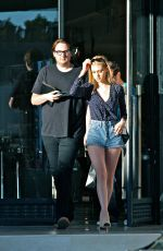 NICOLA PELTZ in Jeans Shorts at Barney