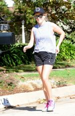 REESE WITHERSPOON in Shorts Out Jogging in Brentwood 11/11/2016