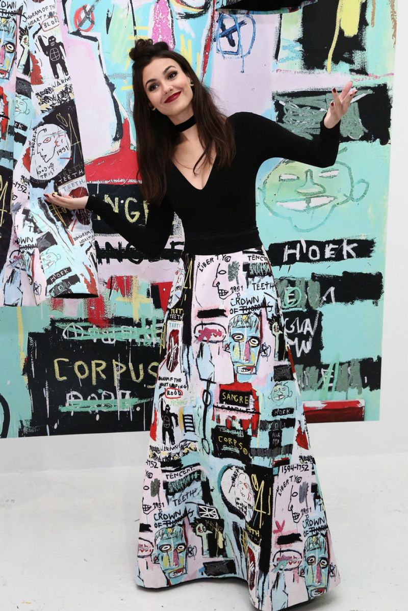 VICTORIA JUSTICE at Alice + Olivia x Basquiat Cfda Capsule Collection Launch Party in New York 11/02/2016