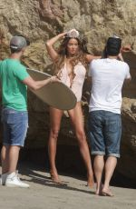 COURTNEY SIXX in Swimsuit on the Set of a Photoshoot in Malibu 11/30/2016