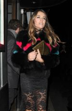 ELIZABETH HURLEY Out for Dinner in London 12/08/2016