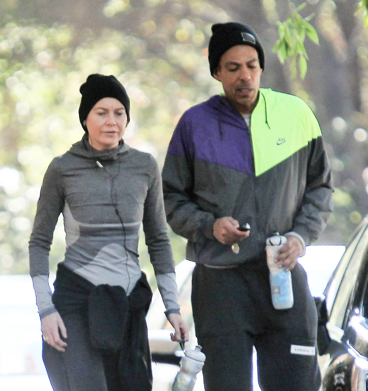 Ellen Pompeo Husband Ellen Pompeo Out Jogging With Her Husband Chris Ivery In Los Feliz